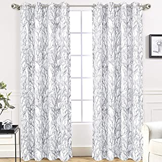 DriftAway Tree Branch Botanical Pattern Painting Blackout Room Darkening Thermal Insulated Grommet Lined Window Curtains 2 Panels 2 Layers Each 52 Inch by 84 Inch Gray