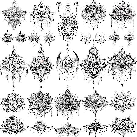 EGMBGM 15 Sheets Sexy Black Henna Mehndi Lotus Temporary Tattoos For Women Fake Jewelry Lace Moon Moth Flowers Pendant Temp Tattoos Temporary Sticker For Girls Arm Neck Chest Breast Hanna Hena Tatoos