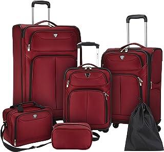 Travelers Club Hartford Softside Luggage Set, Red, 6-Piece
