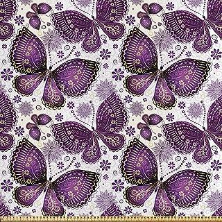 ABAKUHAUS Natural Tela por Metro, Mariposa Asiática, Satén para Textiles del Hogar y Manualidades, 2M (148x200cm), Ciruela Púrpura De La Lila