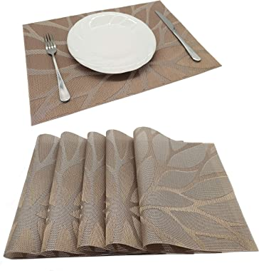 Tennove Placemats Set of 6, Washable Placemats PVC Cross Weave Woven Vinyl Table Mats for Kitchen Dining Table Decoration(Flower-Brown)