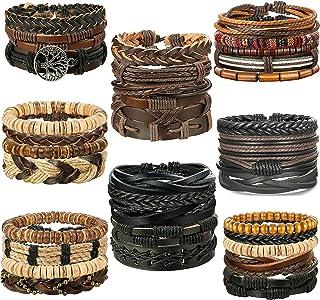 LOLIAS 32 Pcs Woven Leather Bracelet for Men Women Cool Leather Braided Wrist Cuff Wristbands Adjustable Handmade Wooden Beaded Ethnic Tribal Linen String Bracelet