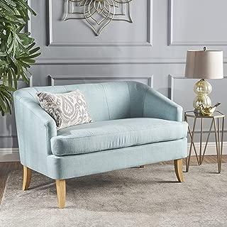 Christopher Knight Home Shelby Mid Century Modern Beige Fabric Loveseat (Light Blue)