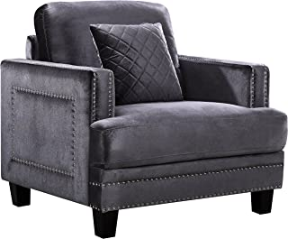 Meridian Furniture Ferrara Velvet Upholstered Armchair with Square Arms, Silver Nailhead Trim, and Custom Solid Wood Legs, Grey