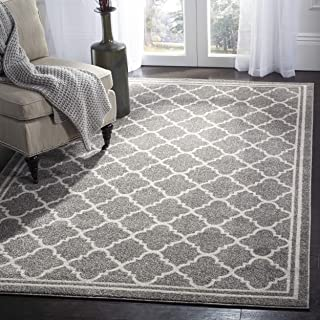 Safavieh Amherst Collection AMT422R Dark Grey and Beige Indoor/ Outdoor Square Area Rug (5' Square)