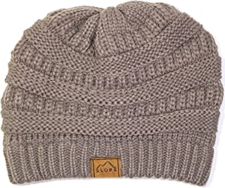 Slope Knitted Beanie Warm Chunky Thick Soft Stretch Cable Beanie Hat…