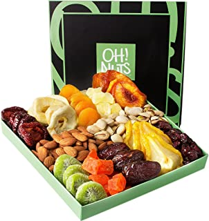 Holiday Nut and Dried Fruit Gift Basket, Healthy Gourmet Snack Christmas Food Box, Great for Birthday, Sympathy, Family Parties & Movie Night or as a Corporate Tray - Oh! Nuts