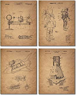 Space Patent Prints - Set of 4 Vintage Wall Art Photos