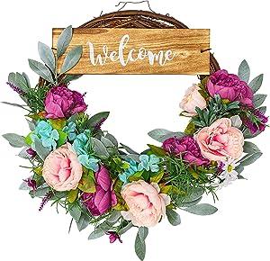 Wreath - Wreaths for Front Door - Front Door Wreath - Spring Wreath - Summer Wreaths for Front Door - Door Wreaths for Front Door Outside - Welcome Wreaths for Front Door - Farmhouse Wreath