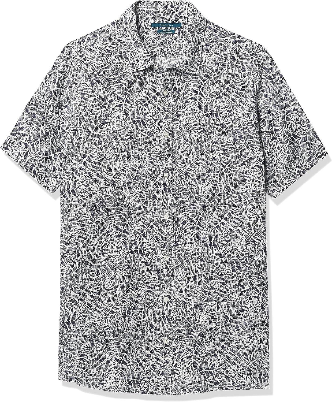 Perry Ellis Men's Big & Tall Untucked Linen Leaf Tile Print Short Sleeve Button-Down Shirt