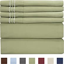 Queen Size Sheet Set - 6 Piece Set - Hotel Luxury Bed Sheets - Extra Soft - Deep Pockets - Easy Fit - Breathable & Cooling Sheets - Wrinkle Free - Green - Sage Green Bed Sheets - Queens Sheets - 6 PC