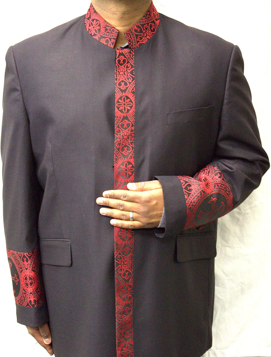 Two Piece Black Clergy Suit with Vibrant Red Embroidery