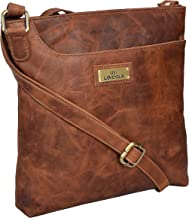 Genuine Leather Crossbody Handbag for Women - Shoulder bag for Womens Handmade by LEVOGUE (BROWN OILY HUNTER)