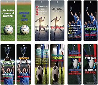 Soccer Quotes Bookmarks Cards (30 Pack) – Encouraging Positive Self Help Card Set– Best Gifts Stocking Stuffers for Men, Women, Adults, World Cup Fans