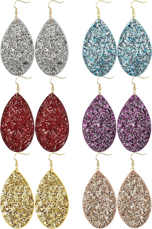 JOERICA 6 Pairs Leather Dangle Earrings for Women Girls Statement Teardrop Drop Earrings Set