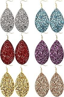 6 Pairs Leather Dangle Earrings for Women Girls Statement Teardrop Drop Earrings Set