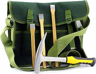 Rockhound & Rock Mining Kit w/Rock Pick Hammer, 3 Chisels, Musette Bag (5-Piece Set)