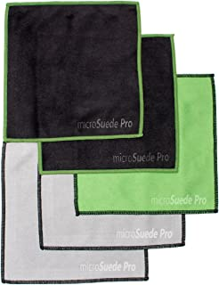 (5-Pack) Premium Microfiber Cleaning Cloth for Glass, Camera Lenses, Phones, Tablets, Screens (2 Black, 2 Grey, 1 Green) 6