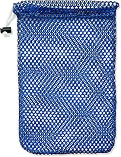 "Mesh Stuff Bag - 11"" x 15"" - Durable Mesh Bag with Sliding Drawstring Cord Lock Closure. Great for Washing Delicates, Rinsing Beach Toys, Seashell Collecting or Scout Mess Bags. (Royal Blue)"