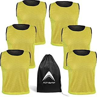 Athllete Reversible Mesh Pack of 6 Basketball Jerseys Lacrosse Top Tank Adult Teen Youth Kids Team Sports Scrimmage Vest