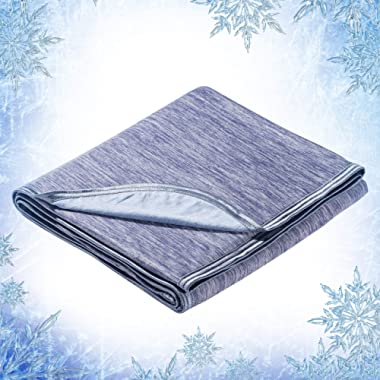 Elegear Revolutionary Queen Size Cooling Blanket Absorbs Body Heat to Keep Adults, Children, Babies Cool on Warm Nights. Japanese Q-Max 0.4 Cooling Fiber,100% Cotton Backing Blanket- Blue, 78 x86