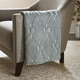 Stone & Beam Modern Heathered Cable-Knit Throw Blanket - 60 x 50 Inch, Spa
