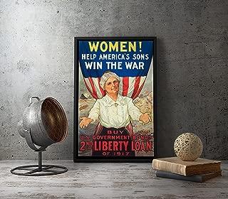 UpCrafts Studio Design WW1 American Propaganda Poster - Women! Help America's Son Win The WAR. Victory Liberty Loan 1917 Year - WWI US War Bonds (8.3 x 11.7)
