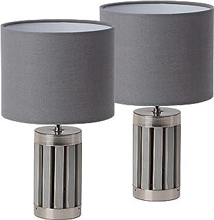 BRUBAKER - Lampe de table/de chevet - Lot de 2 - Design moderne - Hauteur 33 cm - Pied en Bois & Métal/Gris - Abat-jour en...