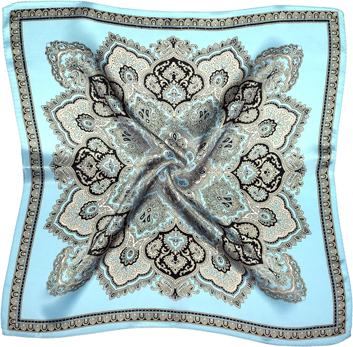 bluee Ecru Paisley Print Thick Small Silk Square Scarf