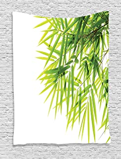 "Ambesonne Bamboo Tapestry, Bamboo Leaf Illustration for Wellbeing Health Fresh Purity Tranquil Art Print, Wall Hanging for Bedroom Living Room Dorm, 60"" X 80"", White Green"