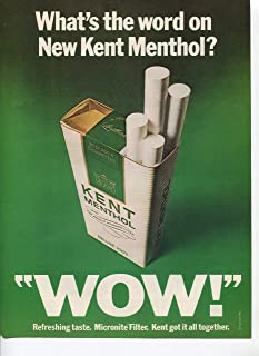Kent Menthol Cigarettes What's The Word On New Kent Menthol Wow Refreshing Taste 1971 Vintage Antique Advertisement