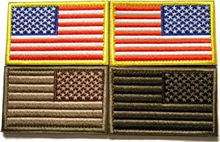Tekma Sport American Flag Hook and Loop Tactical Patch Combination Pack, Standard and Reverse