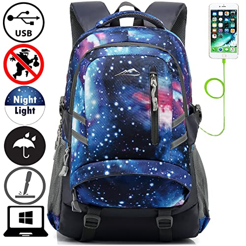 0f2a75201127 Galaxy Backpack Bookbag For School College Student Travel Business With USB  Charging Port Water Resistant Fit