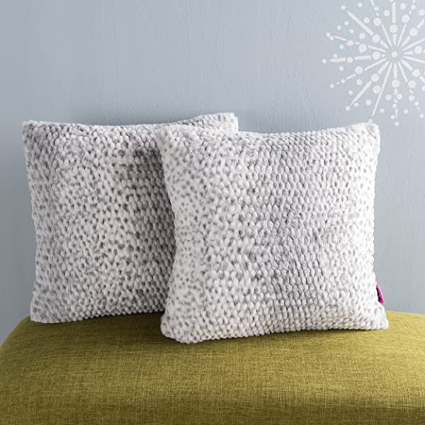 Christopher Knight Home Ellison Silver Dusk Decorative Faux Fur Fabric Throw Pillow Set Of 2 Ideal For The Living Room Or Bedroom Plush Texture