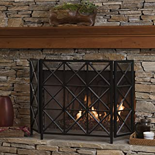 Christopher Knight Home Mandralla 3 Panelled Black Iron Fireplace Screen