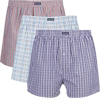 3PK Men's Woven Boxers, 100% Cotton Boxer Shorts for Men, Boxershorts with Button Fly, Underwear