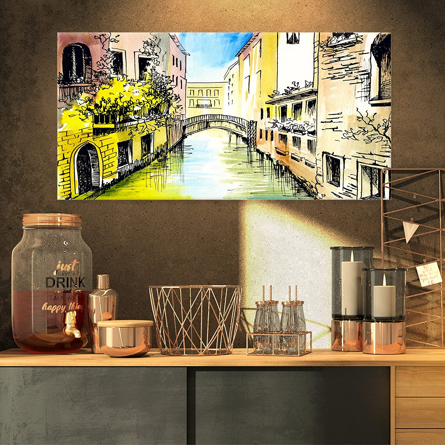 Designart PT62203216 Canal in Venice Cityscape Canvas Artwork, Yellow, 32x16