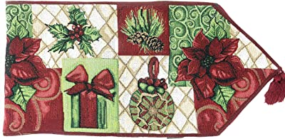 Tache Home Fashion DB12900-1354 Christmas Green Red Decorative Tapestry Holiday Tidings Poinsettia Table Runners with Tassels, 13 x 54