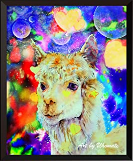 Uhomate Watercolor Alpaca Print Original Alpaca Starry Night Painting Cute Animal Canvas Wall Art Print Poster Baby Gift Nursery Decor Living Room Wall Decor A134 (8X10)