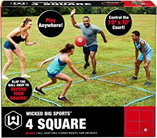 Wicked Big Sports 4 Square Game with Court Lines for Outdoor Play in The Backyard, Beach, Park, Fun for All, red (1925)