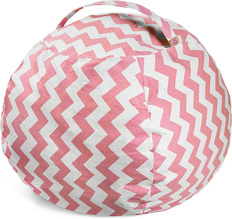 Lucky Doos Extra Large Stuffed Animal Bean Bag Chair 38 Soft Jumbo Cover And Pink Chevron Cotton Canvas For Kids Teddy Bear And Plush Stuffable XL Chairs And Toy Storage