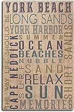 Lantern Press York Beach, Maine - Typography (10x15 Wood Wall Sign, Wall Decor Ready to Hang)