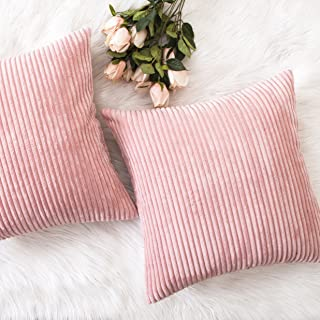 Home Brilliant Set of 2 Plush Velvet Corduroy Throw Euro Pillow Sham Cushion Cover for Sofa, 26 x 26 inch (66cm), Baby Pink