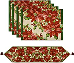 Christmas Table Runner with 4 Matching Placemats Set Elegant Poinsettia Design Tapestry Rectangle Table Mats and Runners w...