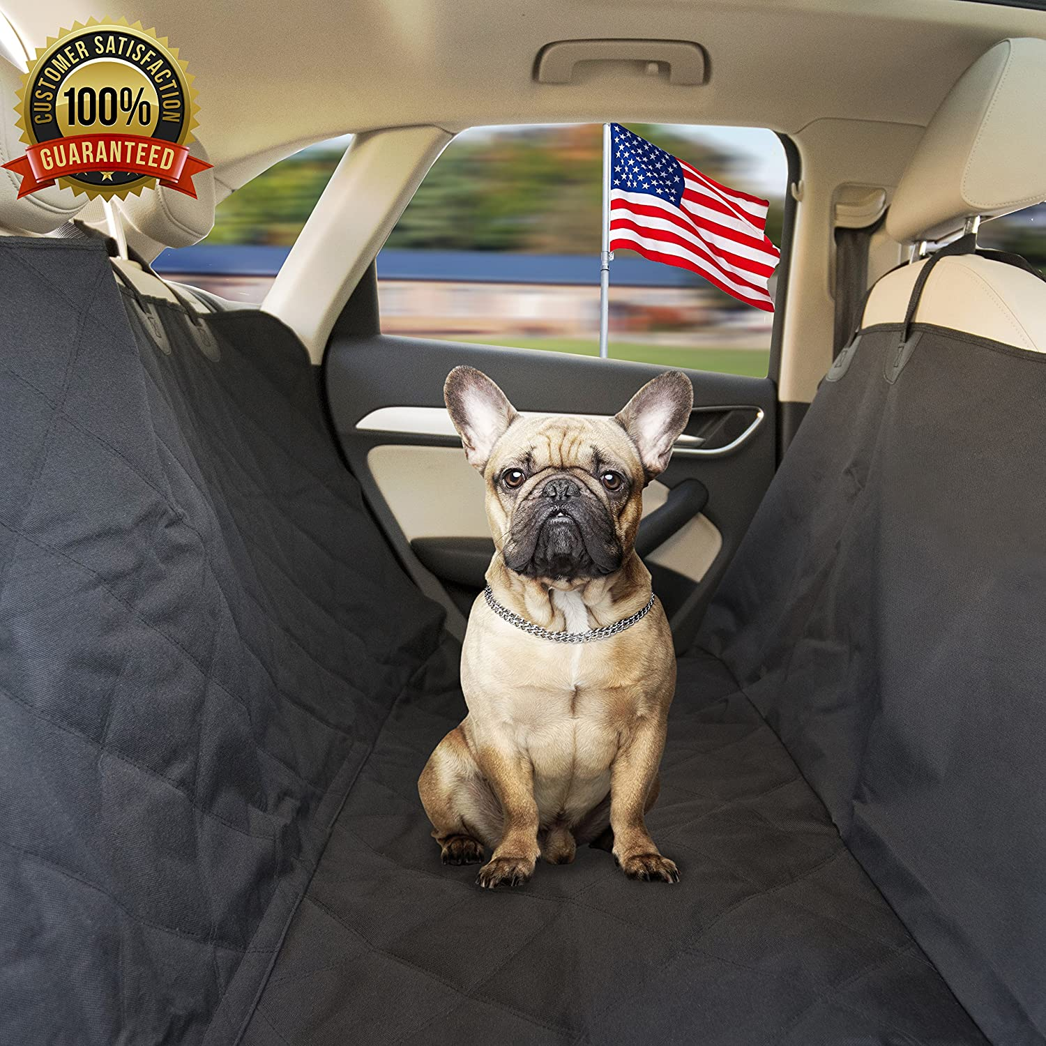 PetABite Reliable Pet Car Seat Cover  Free from Dog Hair on The Back Seat  Waterproof Luxury Hammock Predector w Flaps & Storage Bag. Vehicle & SUV Puppy Comfort Accessory.