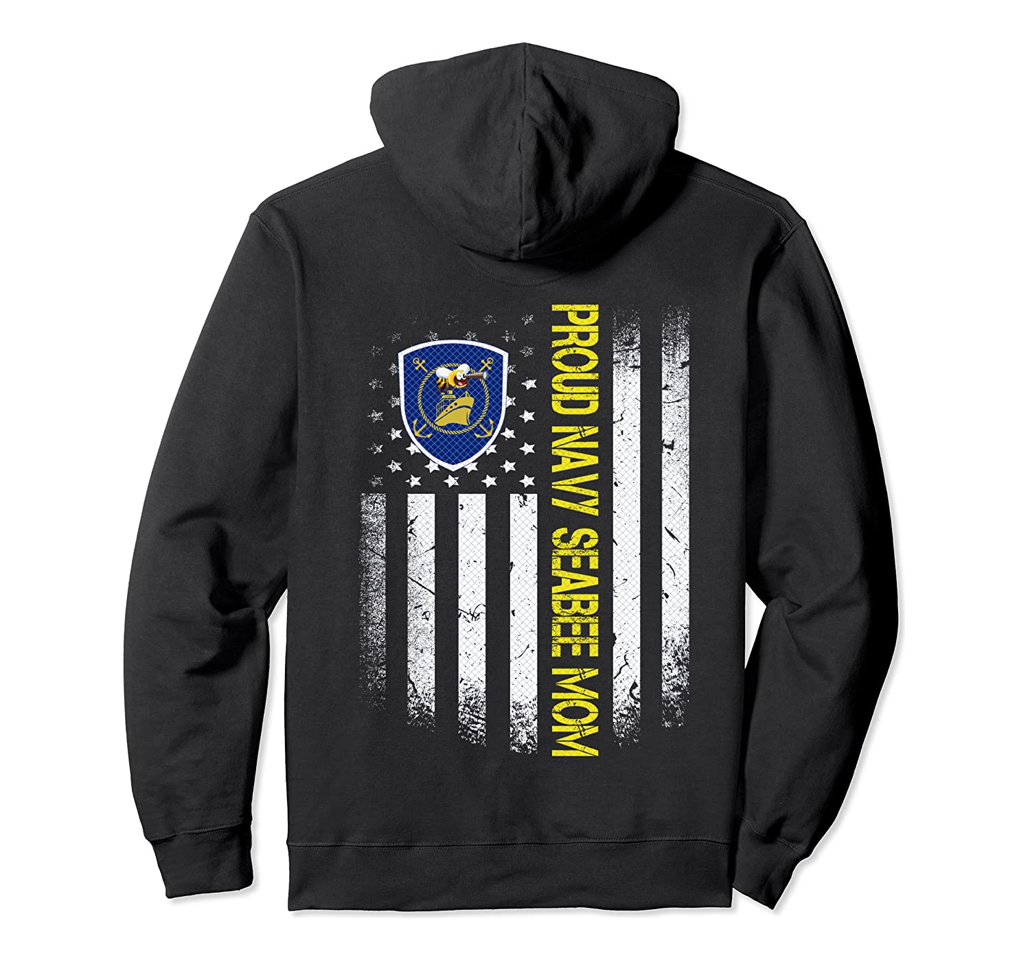 Flag Usa Proud Us Navy Seabee Mom Us Military Family Gift Pullover Hoodie