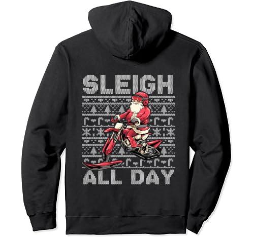 Sleigh All Day Santa Claus Ice Bike Christmas Snowmobile Pullover Hoodie
