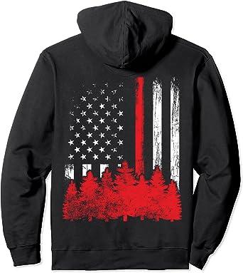 FDNY Sweatshirt Thin Red Line American Flag Black Pullover