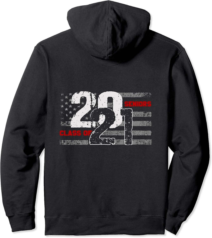 Class of 2021 Distressed American Flag オンライン限定商品 Back 希望者のみラッピング無料 Pullover Seniors Hoo