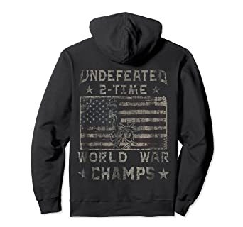 : Undefeated 2 Time World War Champs Hoodie: Clothing